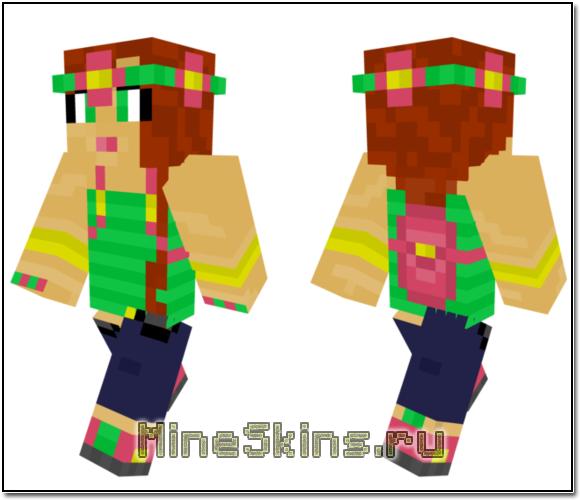 Скин Девушки в цветах для MineCraft