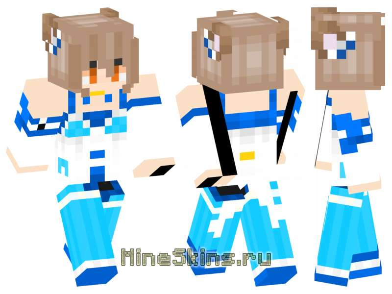Скин  аниме девушка в бело-голубом наряде